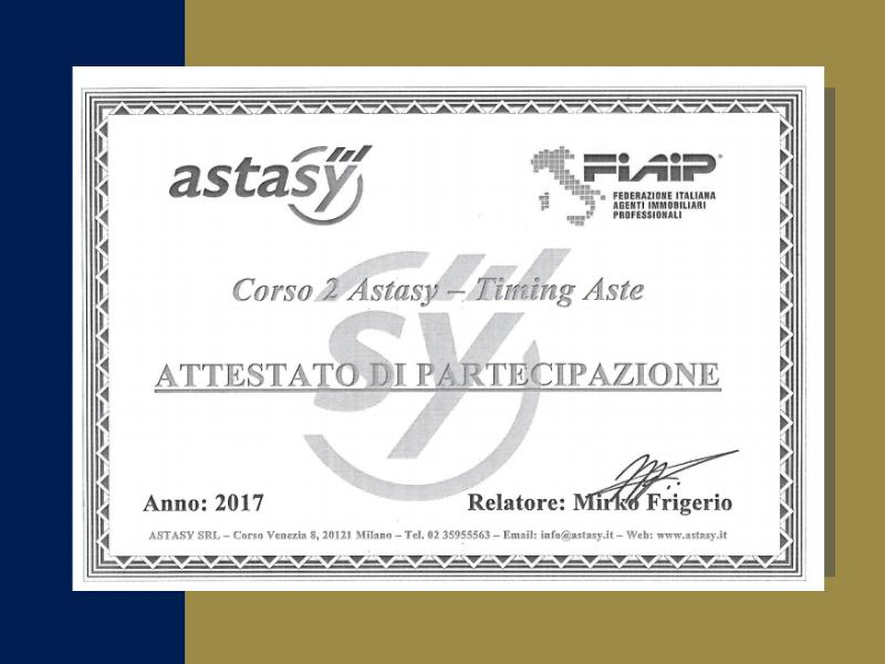 studio - santoro - immobiliare - torino - certificazioni - fiaip - colore blu e oro - attestato di partecipazione