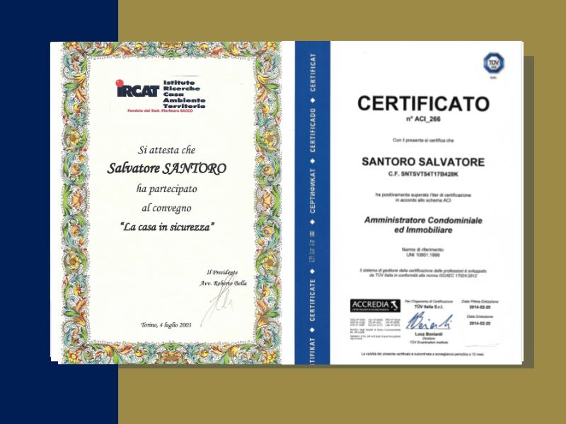 studio - santoro - immobiliare - torino - certificazioni - fiaip - colore blu e oro - cornice colorata