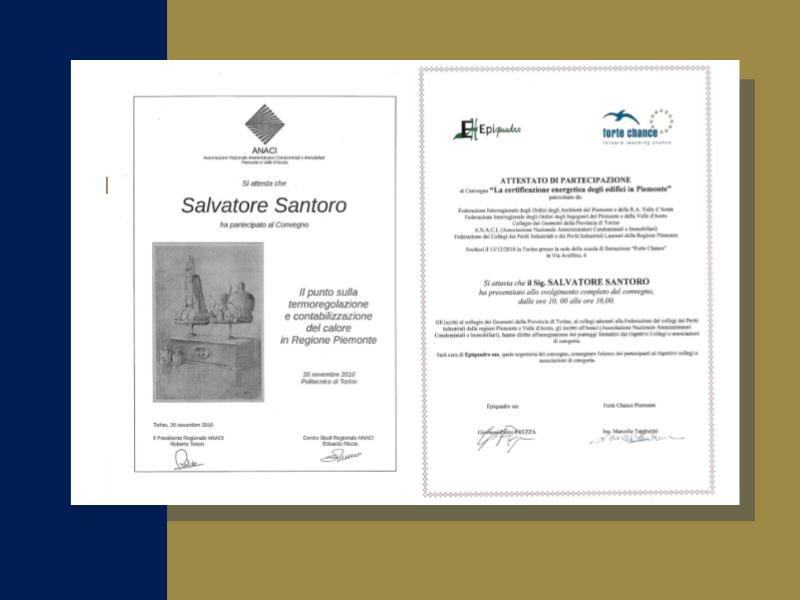 studio - santoro - immobiliare - torino - certificazioni - fiaip - colore blu e oro - salvatore santoro - attestato -