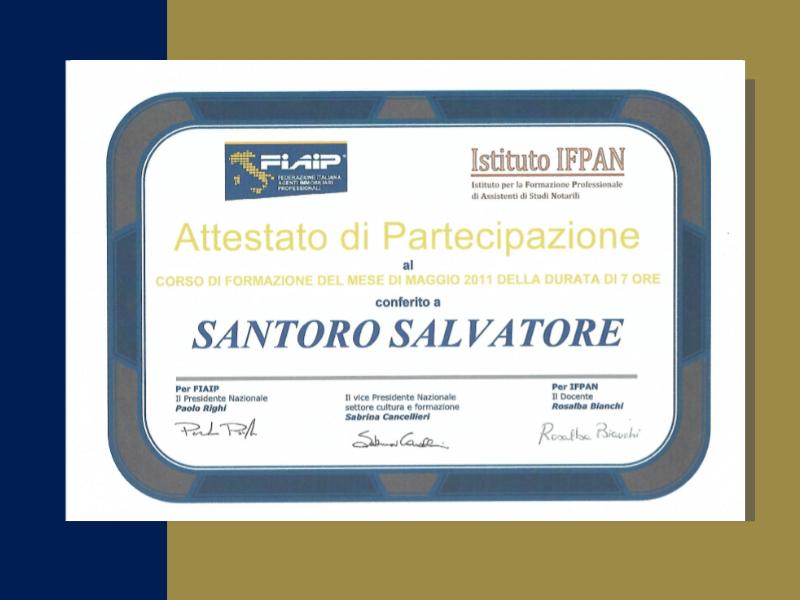 studio - santoro - immobiliare - torino - certificazioni - fiaip - colore blu e oro - santoro salvatore